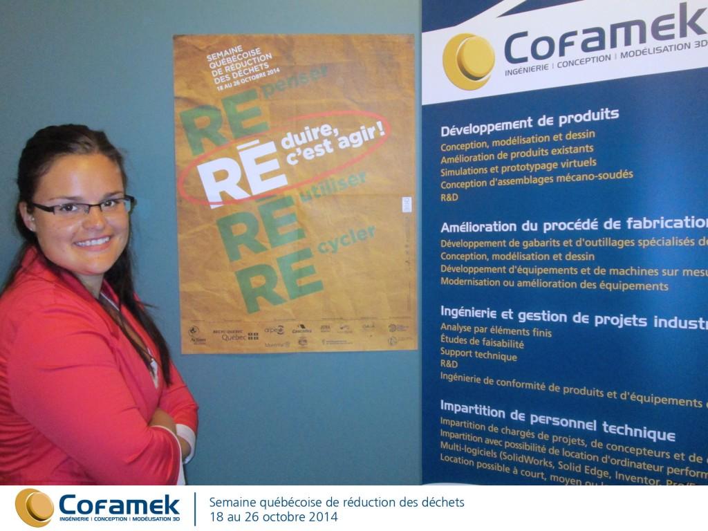 Voici Marilyn, notre adjointe administrative, et l'affiche promotionnelle de la SQRD : repenser, réutiliser, recycler : réduire c'est agir !